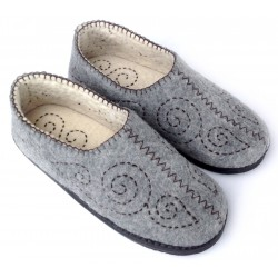 Felt Slippers (dark stitch grey, larger sizes)