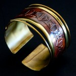 Cuff Brass and Copper - Ancient Diamond Shaped