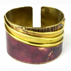 Cuff Brass and Copper - Lines Drawn
