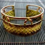 Cuff Brass and Copper - Diamond Textured Scales