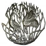 Cranes in Reeds - Metal Art
