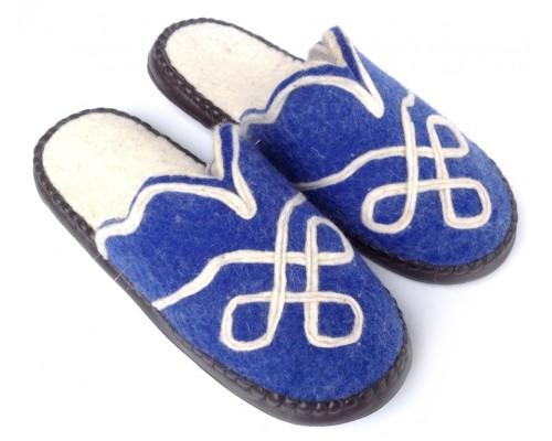 Felt Slippers (blue, open back)