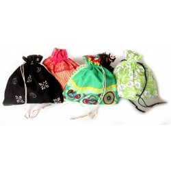 Small Draw String Gift Bags - Fabric - Set of 5