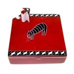 Soapstone Square Box w/ Key - Red Animal