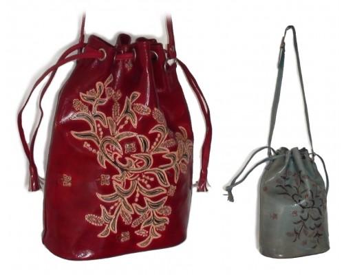 Shoulder Bag - Drawstring Embossed Leather - Orchid Range