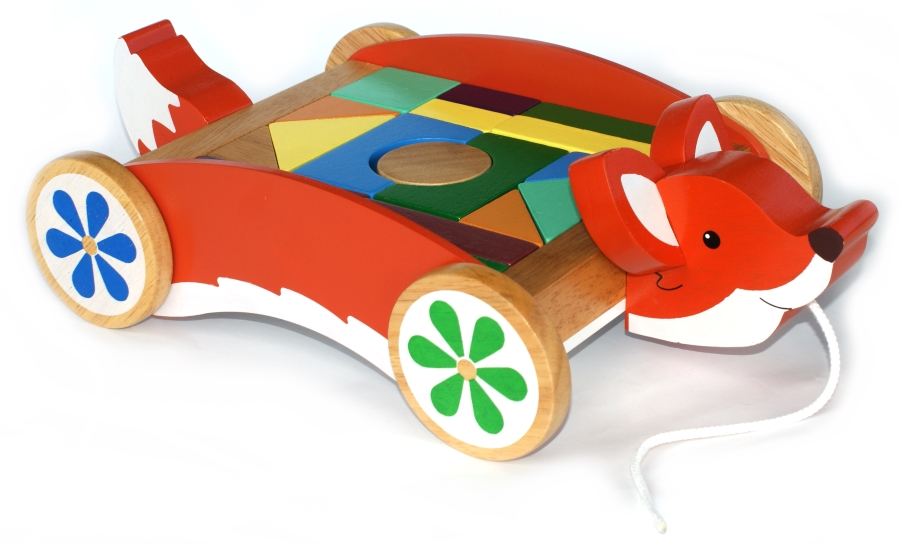 Fox Cart with Toy Blocks