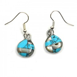 Earrings Silver - Round Turquoise/Abalone Mosaic