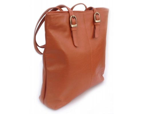 Tote Bag - Finished Leather - Tan