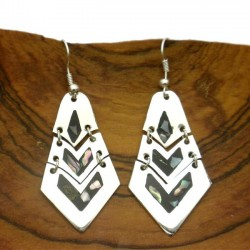 Earrings Silver - Silver Articulated Mother of Pearl Inlay