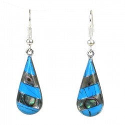 Earrings - Silver Turquoise and Mother-of-Pearl Teardrop