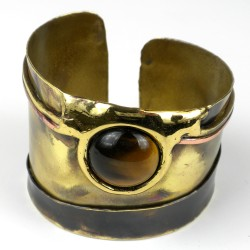 Cuff - Gold Tiger Eye Statement