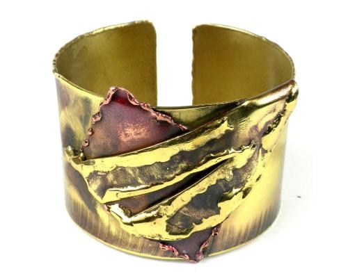 Cuff Brass and Copper - Layered Leaf