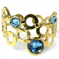 Cuff Brass - Sky Blue Bubble