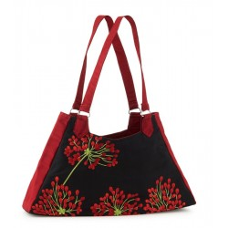 Hand Bag - Silk Embroidered Red Blossom