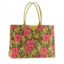 Tote - Pink Flowers & Green Linen