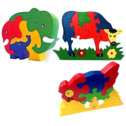 Puzzle - Cow / Elephant Family / Hen & Chickens