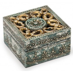 Antique Metal and Wood Cut Out Box