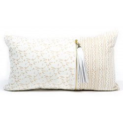 Cushion Cover - Long (Metallic Block Print) Cream