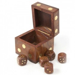 Wood Dice Box with Five Dice