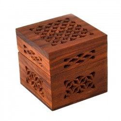 Lattice Cutwork Wood Box - Small