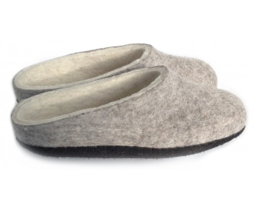 Felt Slippers (grey, low back small sizes)