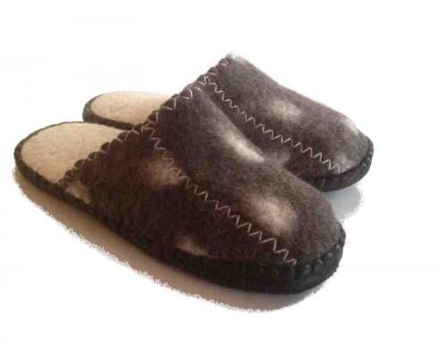 Felt Slippers (Brown, open back)