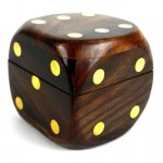 Wood Dice Box with Five Dice - Sheesham