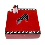 Soapstone Square Box w/ Key - Red Animal
