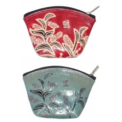 Coin Purse - Embossed Leather Orchid