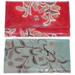 Wallet - Ladies - Embossed Leather Orchid