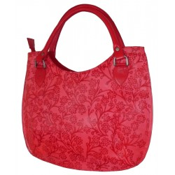 Hand Bag - Embossed Leather - Red