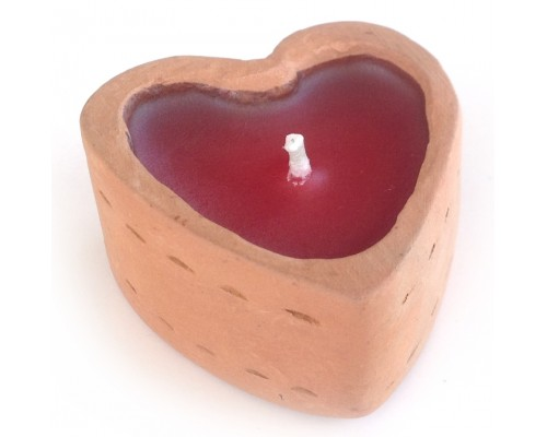 Candle Holder - Terracotta Heart