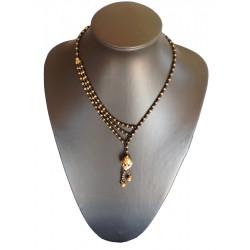 Necklace - Asymmetric Brass / Glass