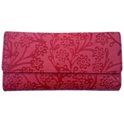 Wallet - Ladies - Embossed Leather Red
