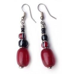 Earrings - Beaded Red Resin